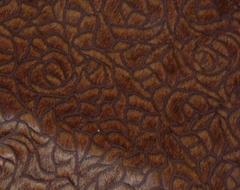 """Leather 8""""x10"""" Hair On Milk Chocolate Brown Rose Print Cowhide Hide 4-4.5 oz / 1.6-1.8 mm PeggySueAlso LIMITED"""