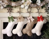 Dog Bone Stockings - Burlap Pet Stocking