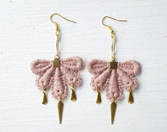Rose Gold Lace Earrings  // Lace Jewelry