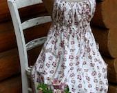 Full Apron, Apron, Empire Waist Apron, Baby Doll Apron, Vintage Floral Bouquet