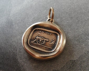 Cannon Wax Seal Charm - antique wax seal jewelry in bronze - I'm Off