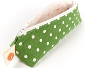 Green Polka Dot Linen Pencil Case Back to School Student Gift Brush Pouch
