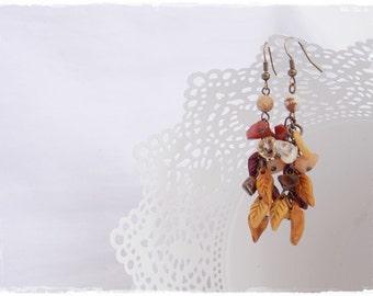 Boho Dangle Earrings, Autumn Leaf Earrings, Gemstone Earth Earrings, Polymer Clay Earrings, Gemstone Woodland Jewelry, Nature Elven Earrings