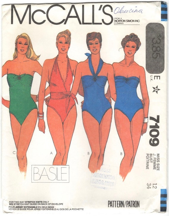 1980s Basile swimsuit pattern - McCall's 7109