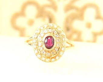 Vintage Ruby Diamond 1 Carat Cluster 14K Cocktail Ring/ Yellow Gold
