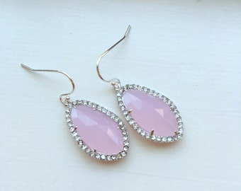Wedding Jewelry Large Silver Pink Opal Earrings Crystal Clear Setting Light Pink Jewelry - Blush Bridesmaid Jewelry - Bridal Earrings