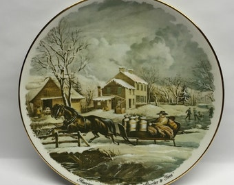 Vintage 1987 American Farm Scenes Winter Currier and Ives Plate Collectable Plate