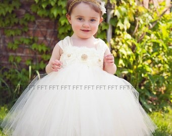 Ivory and Gold Flower Girl Dress With Cap Sleeves