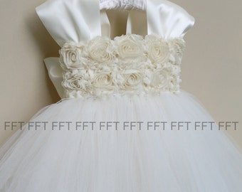 Champagne & Ivory Flower Girl Dress With Cap Sleeves