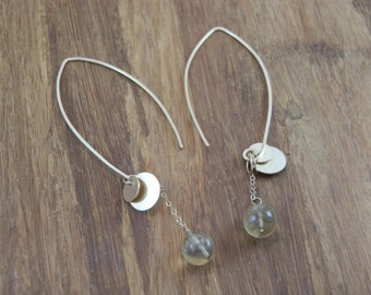 Arc Hoop Earrings - Citrine Arc Hoop Earrings - Dangle Arc Hoop Earrings