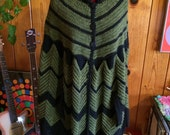Vintage 70's cape cardigan knit green and black all sizes