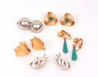 vintage designer clip earring lot // Trifari // Monet // BSK