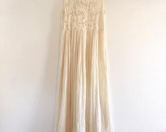 Vintage Boho Crochet Maxi Dress / Cream Dress S