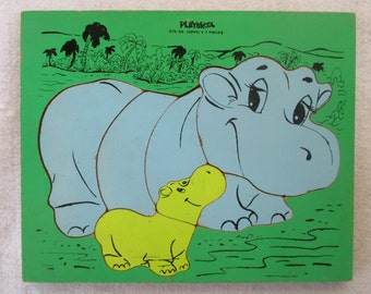 Hippo Mother and Baby PlaySkool Puzzle 275-38 Vintage 60's, Green Blue Yellow, Wood Manipulative, Nursery Child's Decor