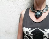 PARADOX⎜Black leather necklace with natural moss agate⎜Leather jewelry⎜Burning man jewelry⎜Statement necklace