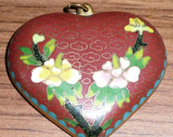 Large Cloisonie Heart Pendant in Brass