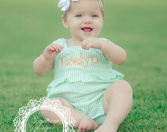 Girl's Custom Monogram Bubble - Green & White - Girl's Summer outfit - Monogrammed Bubble - Shower gift - Summer Bubble - Easter Bubble
