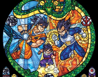 Rose Window - Dragon Ball Z Stained Glass Illustration