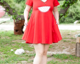 Red sundress for women  - red mini dress with watermelon print - plus size red dress for women -all sizes  summer dress