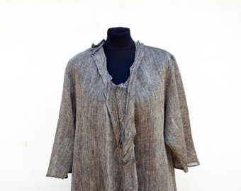 european LINEN tunic XL large size, eco hemp flax tank OOAK woman unique fashion design, natural eco flax clothing, wearable art to wear 307
