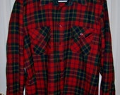 Vintage Men's Red Plaid Wool Flannel Shirt by Adams Row Large Only 10 USD