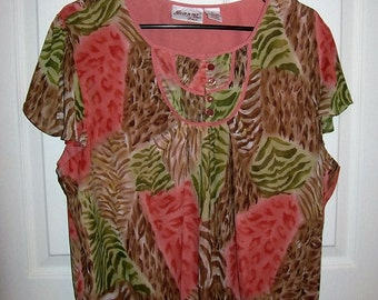 Vintage Ladies Pink Leopard Print Blouse by Joanna Plus Size 2X Only 6 USD