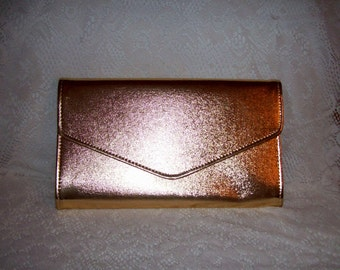 Vintage 1970s Metallic Gold Clutch Purse w/ Optional Shoulder Strap NOS Only 7 USD