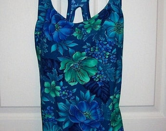 Vintage Ladies Blue Floral Racerback One Piece Swimsuit by Speedo Size 16 Only 14 USD