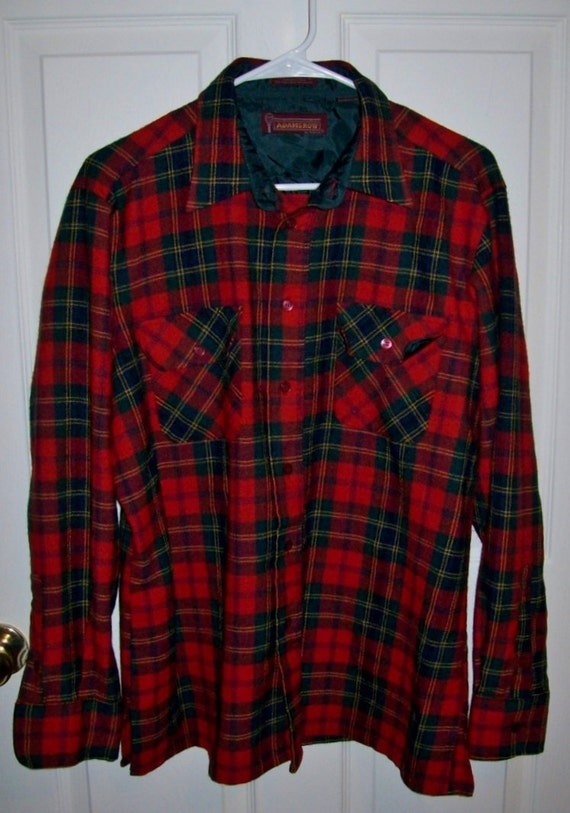 Vintage men 39 s red plaid wool flannel shirt by adams row for Mens red wool shirt