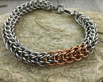 Stainless Steel and Bronze Stripe Chainmaille Bracelet - Ready to Ship