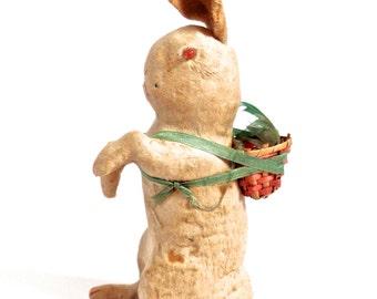 Antique Spun Cotton Rabbit, cotton batting Ornament, Antique Easter, Feather Tree Ornament, Antique Primitive Easter, Spring Bunny
