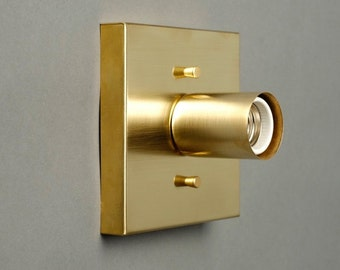 Square Brass Alpha wall sconce UL listed