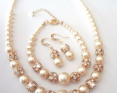 Gold pearl jewelry set ~ Swarovski pearls and crystals ~ 3 piece set , Necklace , Bracelet and earrings ~ Bridal Jewelry ~ ISABELLA