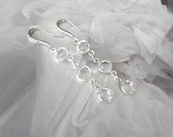 Crystal earrings - Swarovski channel earrings - Long - Clear Crystals - Brides earrings - Wedding earrings, Sparkles like Diamonds -