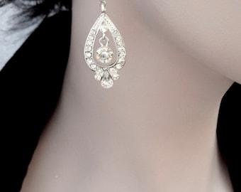Silver crystal earrings ~ Long ~ Statement earrings ~ Wedding earrings ~ Brides earrings ~ Silver rhinestone earrings ~REBECCA
