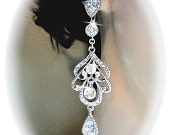 Long crystal earrings ~Chandelier earrings, Brides earrings, Sterling posts, Wedding earrings, Bridal earrings, Prom, RACHEL