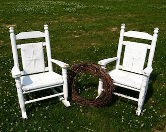 Antique White Wooden Childrens Rocking Chair Set of 2 - Antique Sturdy + Sweet Shabby Chic Rockers for Tots, Shabby French Chic, Home Decor