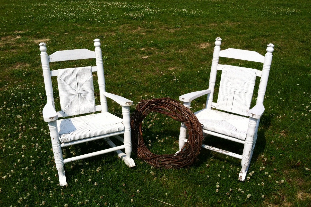 Antique White Wooden Childrens Rocking Chair Set of 2