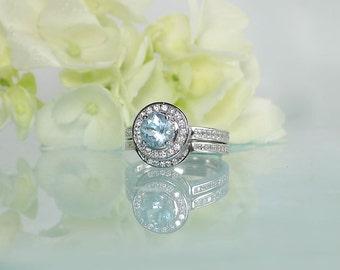 Aquamarine Wedding Set, Aquamarine Engagement Set, Aquamarine Ring, Blue Gemstone Wedding Set, Aquamarine Sterling Silver Wedding Set