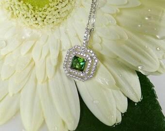 Tourmaline Pendant, Green Tourmaline Pendant, Natural Tourmaline, Antique Style Pendant, Sterling Silver