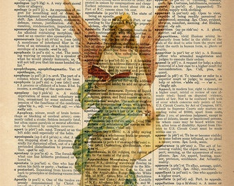 Dictionary Art Print - Christmas Angel -  Upcycled Vintage Dictionary Page Poster Print - Size 8x10