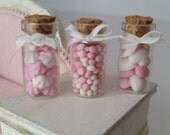 Set of 3 glass jars with marshmallows, candies and meringues. 1/12th scale (pink)