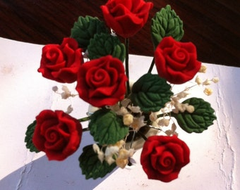 Dollhouse Bouquet in Ceramic Pot, Red Roses,  1.5  Inches Tall