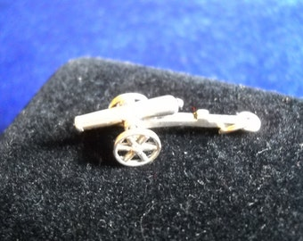 Cannon Charm,  Pendant in Sterling Silver, 2 grams, Moveable Wheels