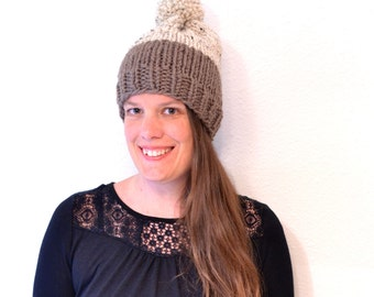 Womens Pom Pom Hat // Hand Knitted Beanie With Pom Pom // Chunky Knit Beanie // Women Gift // Winter Hat // Pom Pom Beanie // Pom Pom Hat