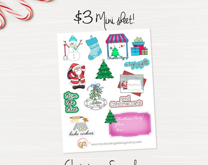 Christmas Sampler Planner Sticker Sheet- 13 count -Perfect for all planners!