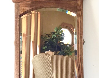 SALE Antique Wooden Mirror Made with Oak and Bevelled Glass, Wood Wall Mirror