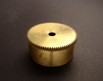 Large Brass Cylinder Gear, Mainspring Barrel from Vintage Clock Movement, Vintage Clockwork Mechanism Parts, Steampunk Art Supplies 03908