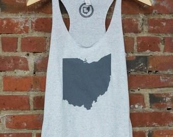 Racerback SUPER SOFT Vintage Feel Tank - 'Ohio State', Grey on White Fleck