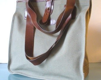 Vintage  Canvas & Leather Tote Bag